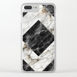 Gold foil white black marble #3 Clear iPhone Case