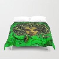 medusa Duvet Covers featuring Medusa by Spooky Dooky
