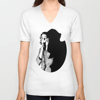 crane V-neck T-shirts featuring Lila Crane by Zombie Rust