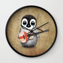 Baby Penguin Playing English Flag Guitar Wall Clock