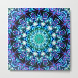 Purple Aqua Magical Mandala Metal Print