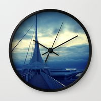 milwaukee Wall Clocks featuring Milwaukee Morning by Laughable Life