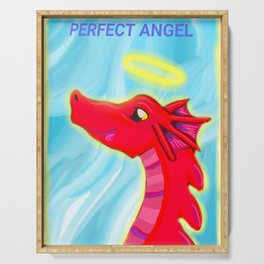 """Dragon perfect angel original artwork for """"Doryu the scared little dragon"""" By author and illustrator Katy Christoff Serving Tray"""