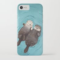 artist iPhone & iPod Cases featuring Otterly Romantic - Otters Holding Hands by When Guinea Pigs Fly