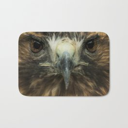 Closeup of the Face of a Red-Tailed Hawk Bath Mat