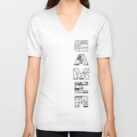 gamer V-neck T-shirts featuring Gamer 2 by Angela Felan