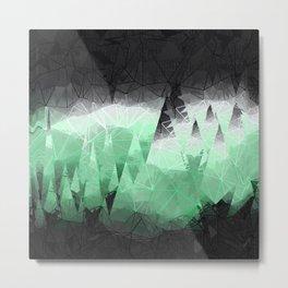 Modern Abstract Green Mountain Design Metal Print