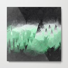 Modern Abstract Green Mountain Design Metal Print