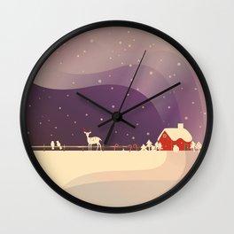 Peaceful Snowy Christmas (Plum Purple) Wall Clock