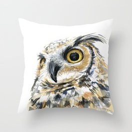 Owl Great Horned Bird of Prey Owls Animals Bird Wildlife Throw Pillow