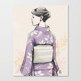すみれ色の着物 Canvas Print