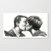 kieren walker Canvas Prints featuring Simon & Kieren by laya rose