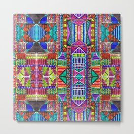 Tribal Patchwork Blue Metal Print