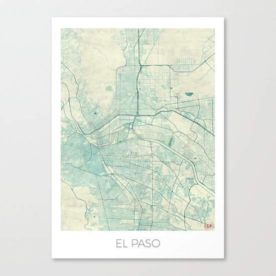 El Paso Map Blue Vintage Canvas Print