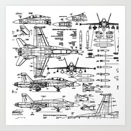 F-18 Blueprints Art Print