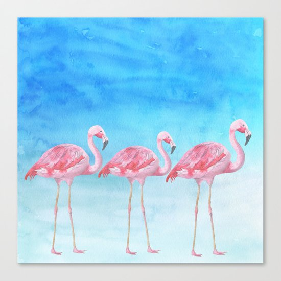 Flamingo bird summer lagune - watercolor illustration Canvas Print