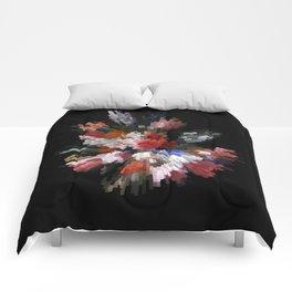 Abstract 3D pixel flowers Comforters