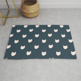Navy Cats Pattern Rug