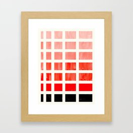 Red Orange Minimalist Mid Century Grid Pattern Staggered Square Matrix Watercolor Painting Framed Art Print