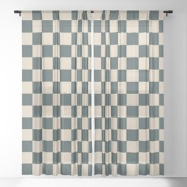 Checkerboard Pattern Inspired By Night Watch PPG1145-7 & Alpaca Wool Cream PPG14-19 Sheer Curtain