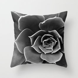 Black and White Succulent Throw Pillow