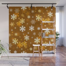 Golden Snowflakes Wall Mural