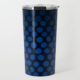 Slate Blue and Black Dots Ombre Travel Mug