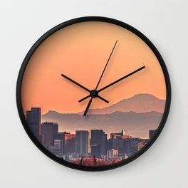Denver Skyline at Sunset Wall Clock