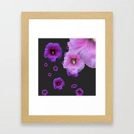 ASYMMETRICAL  PINK-PURPLE  HOLLYHOCKS ON DARK CHARCOAL GREY ART Framed Art Print