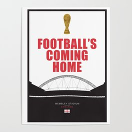 """England Football Team Quote """"it's coming home"""" World Cup 2018 Poster"""