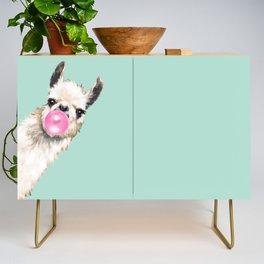 Bubble Gum Sneaky Llama in Green Credenza