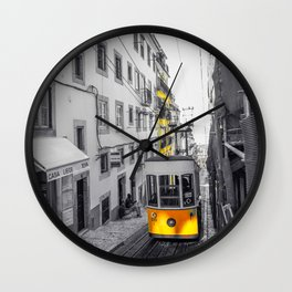 Lisbon Yellow Elevator Tram Wall Clock