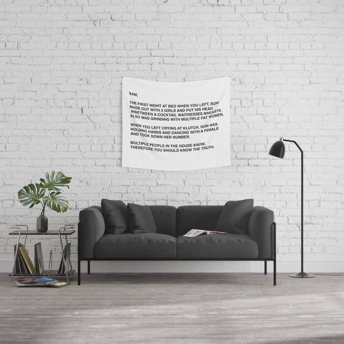 Anonymous Letter To Sammi Sweetheart Jersey Shore Wall Tapestry