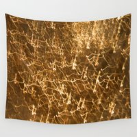 gold glitter Wall Tapestries featuring Gold Glitter 2484 by Cecilie Karoline