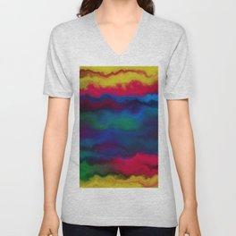 Abstract yellow pink navy blue watercolor ombre pattern Unisex V-Neck