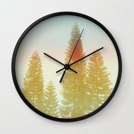 #02#Foggy pine trees Wall Clock