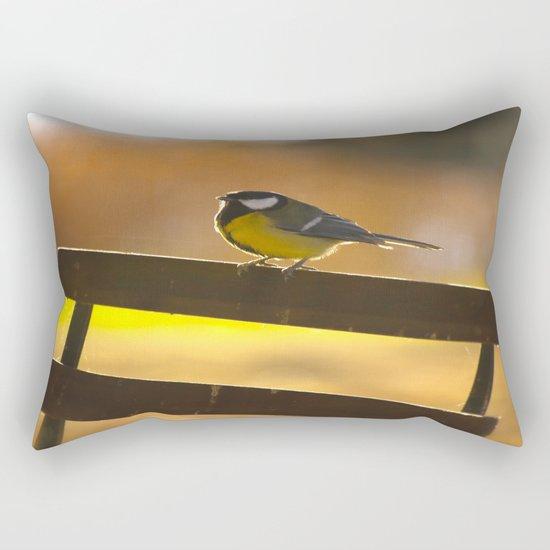 Great Tit On A Chair Rectangular Pillow