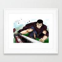 berserk Framed Art Prints featuring Guts - Berserk Fan Art by River Kai