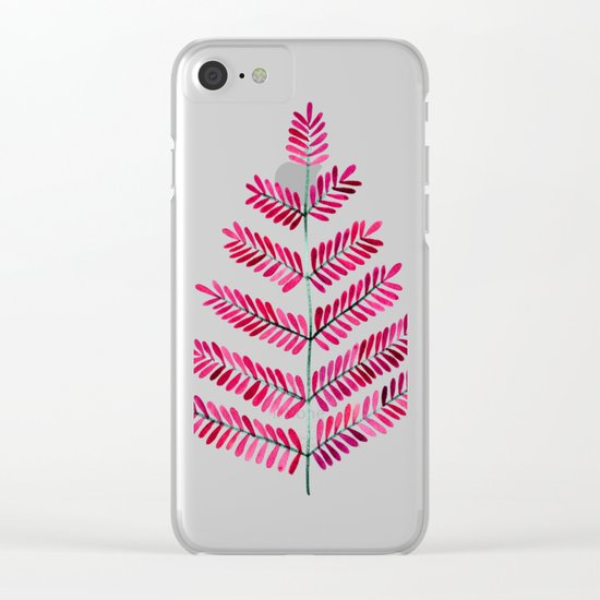Pink Leaflets Clear iPhone Case