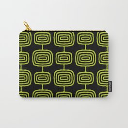 Mid Century Modern Atomic Rings Pattern Black and Chartreuse Carry-All Pouch