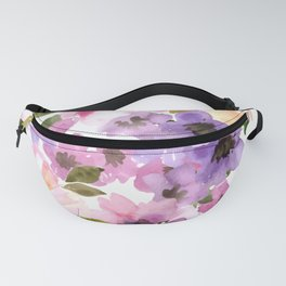 Pink Purple Watercolor Flowers Fanny Pack