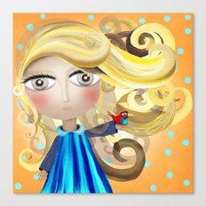 Blonde Hair Doll and Bird Friend Shower Curtain 2017 Canvas Print