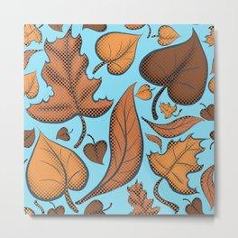 Fall Brown Leaves And Sky Blue Metal Print