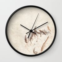 pride and prejudice Wall Clocks featuring Pride and Prejudice by ne11amae