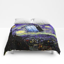 The Tardis in the Starry Night Comforters