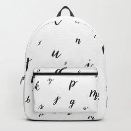 Brush Lettering Hand Lettered Alphabet Pattern Black Backpack
