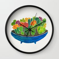 succulents Wall Clocks featuring Succulents by Cat Coquillette