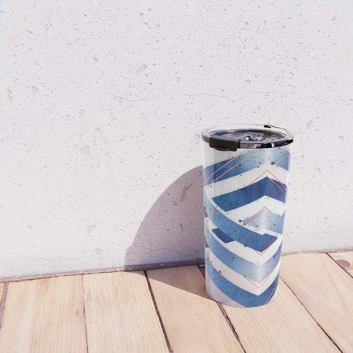 Floating Geometry :: Winter Hexagon Travel Mug