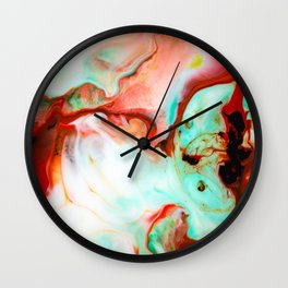 Milk Abstract in green, red & black Wall Clock