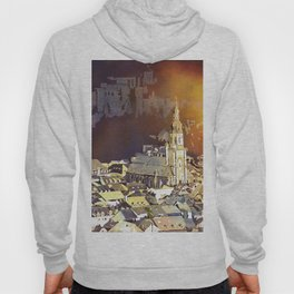 Watercolor painting of steeple of 13th century Church of the Holy Spirit in city of Heidelberg, Germany Hoody